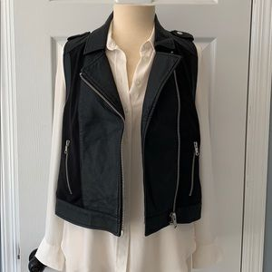 Denim Collection Faux Black Leather Moto Vest